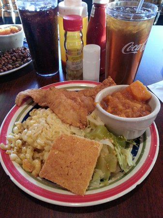 Big Mike's Soul Food: Fried fish, mac and cheese, cabbage, yams, and cornbread...So good!