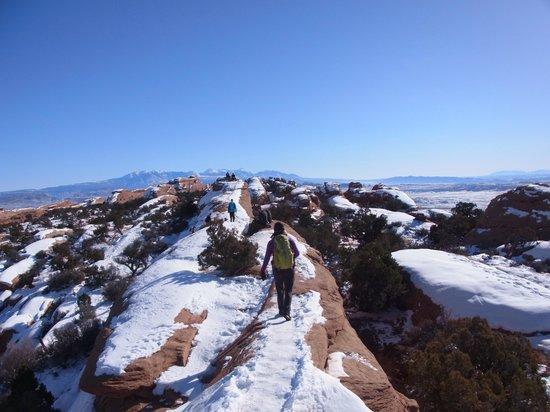 Devils Garden Trailhead : 第二の難関 岩の上のトレイル 帰り道は恐怖感もなく
