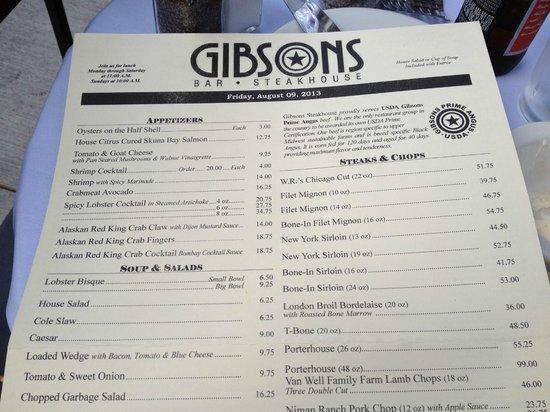 Gibsons Bar & Steakhouse: Gibson's Dinner Menu