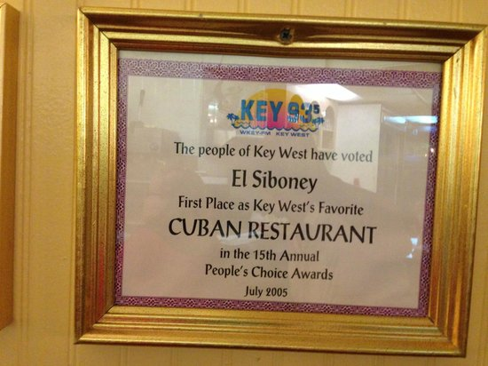 El Siboney Restaurant: every year's price!