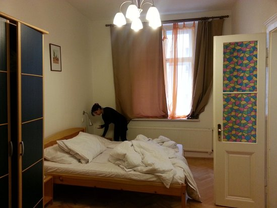 Prague City: Bedroom with a double bed and a single bed, wardrobe