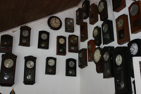 The Bungalow at Pantiya Estate: clock collection, can be set to your 'home' time if you wish
