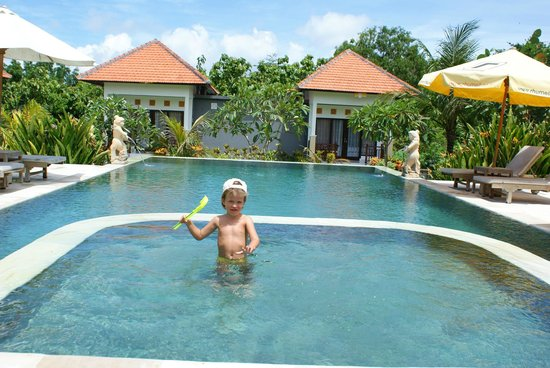 Bali Bule Homestay : Сын на бассейне.