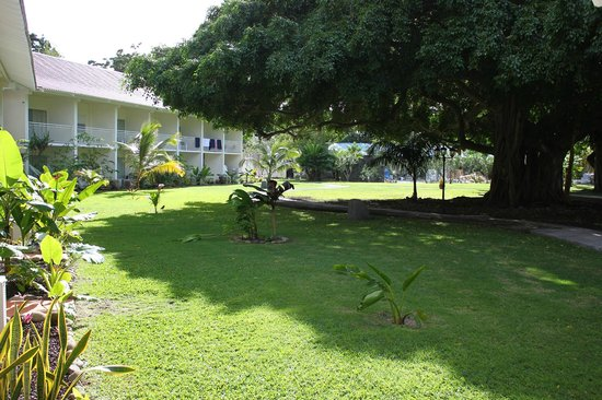 Radisson Grenada Beach Resort : The courtyard/lawn to the run-of-the-house rooms