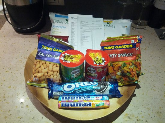 LiT BANGKOK Hotel: Some of the snacks available for the mini bar credits