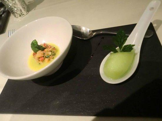 Restaurant Kasbur : pré-entrée : homard et sorbet citron basilic