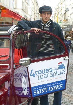 Saint James chauffeur 2CV 4 roues sous 1 parapluie