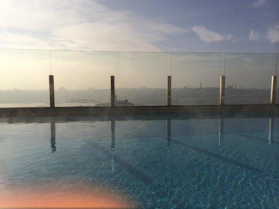 The Marmara Pera Hotel: City View from the heated pool, roof top Marmara Pera Hotel