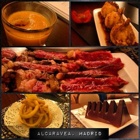 Alcaravea : Our entire, scrumptious meal: kobe beef, goats cheese and honey croquettas, calamari, tobleronem