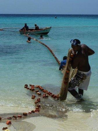 Daaibooi Beach: Local fisherman in the weekend