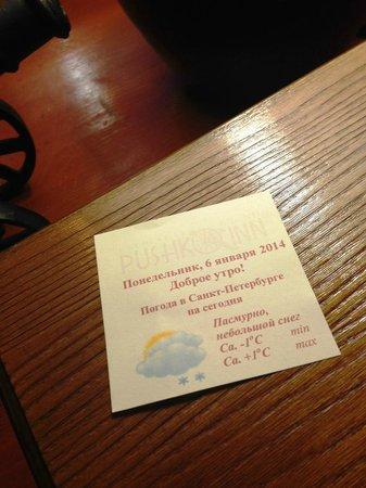 Pushka Inn Hotel: Каждое утро пожелание и прогноз погоды