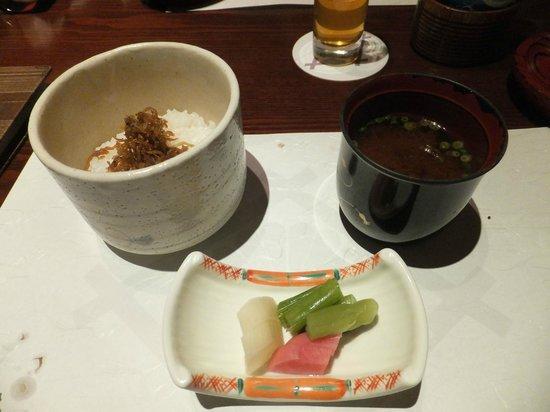 Kikuya: ちりめん山椒御飯 (夕食)