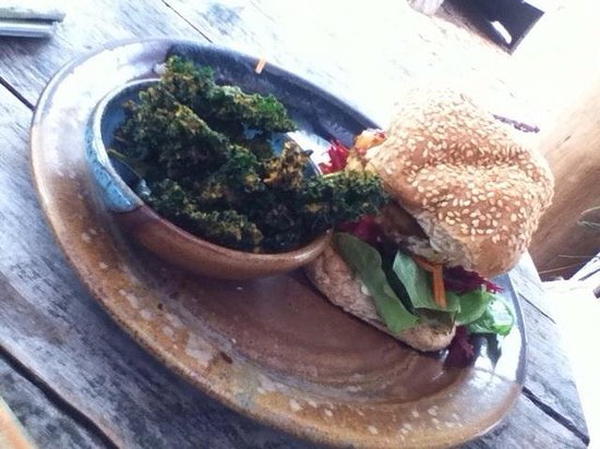 Samudra: BBQ Tempeh burger with zesty kale chips.