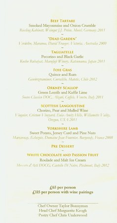 The Five Fields: Le menu de fêtes