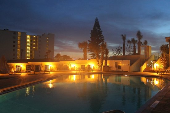 nightly lit pool area picture of hyatt place daytona. Black Bedroom Furniture Sets. Home Design Ideas