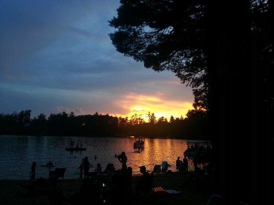Barrington Shores Campground: beautiful sunset, swains lake