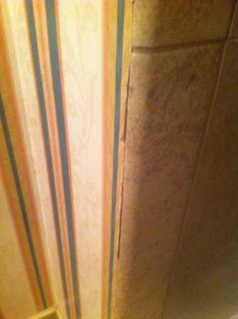 Ramada Fresno North : more wallpaper issues in the bathroom.