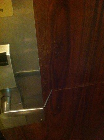 Ramada Fresno North : scratched up door.  Needs a bit of maintenance