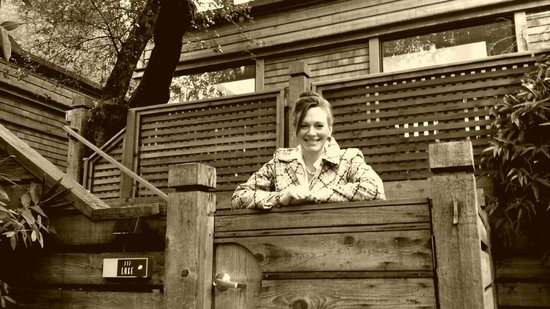 Calistoga Ranch, An Auberge Resort: Sarah at the entrance to our lodge, Lake 137