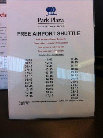 Park Plaza Amsterdam Airport: Airport Shuttle Schedule