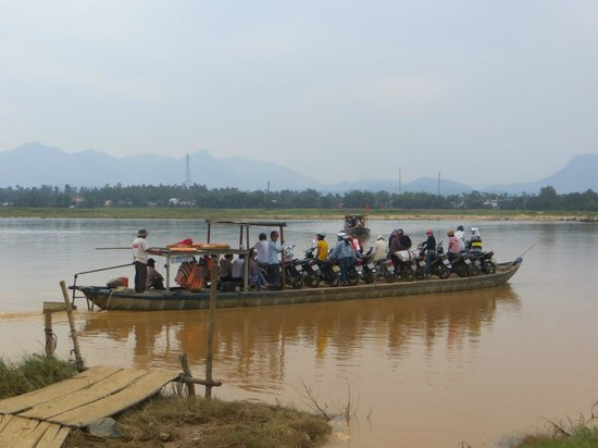 Heaven and Earth Bicycle Tours: boat for motorbikes... and bicycles!