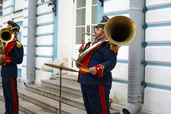 Catherine Palace and Park: A small orchestra outside the palace