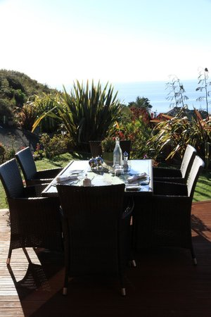 Bellbird Lodge : view from the terrace to the beautiful garden