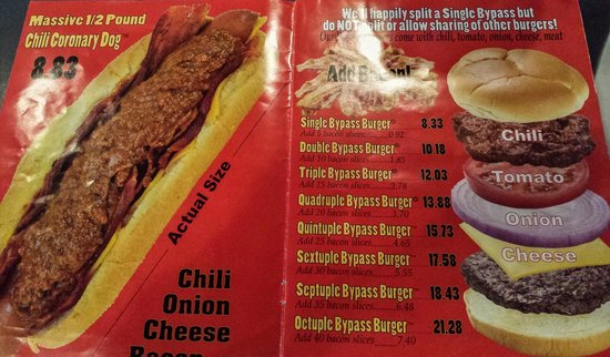 menu picture of heart attack grill las vegas tripadvisor