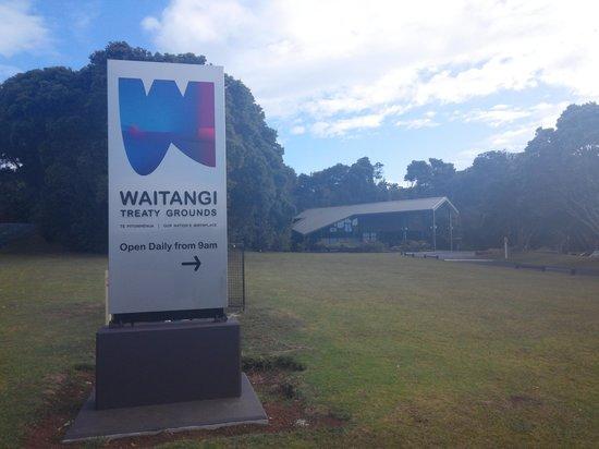 Waitangi Treaty Grounds: board and building
