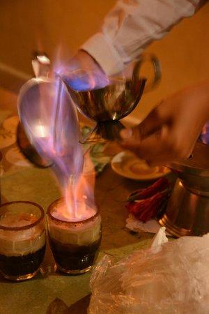 Grand Bahia Principe Coba: Making Spanish Coffee - it's a long process but worth the wait!