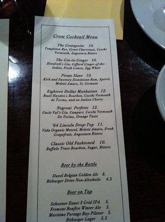 Crow Restaurant & Bar : Cocktail list