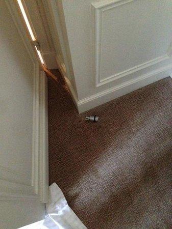 Hotel de la Tremoille: holes in the carpet
