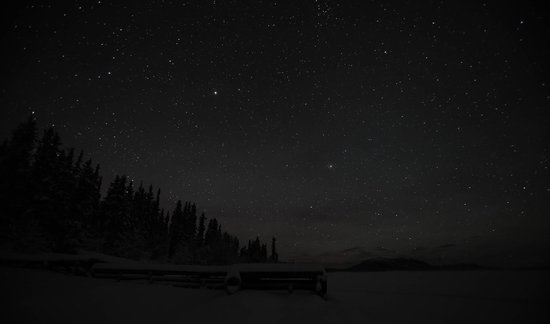 Tagish Wilderness Lodge : The dock and night sky from the lake