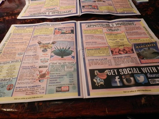 Fudpucker's Beachside Bar & Grill : Menu