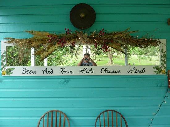 Guava Limb Cafe: The sign as you enter the restaurant
