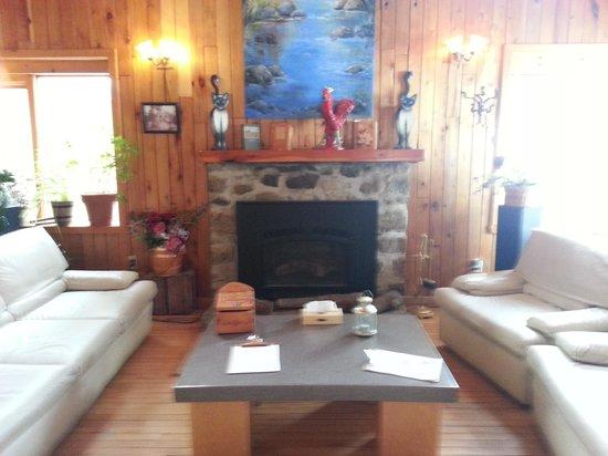 Auberge & Spa Nordique Beaux Rêves : coin détente près du foyer