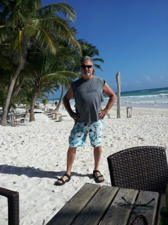Cabanas Tulum : Me on the beach in front of our room!