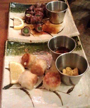 Bizen: Top: Duck Asparagus Maki; Bottom: Shrimp Shu Mai.