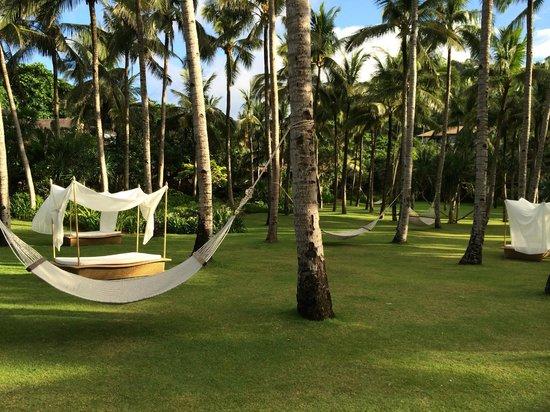 Shangri-La's Boracay Resort & Spa: プール横のハンモック 海風が気持ち良いですよ