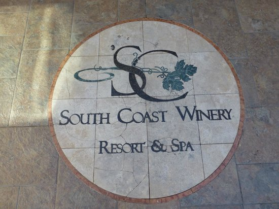South Coast Winery Resort & Spa: Logo at entry to winery tasting room