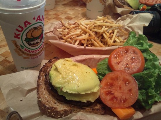 Kua Aina Sandwich: Avocado burger and French fries