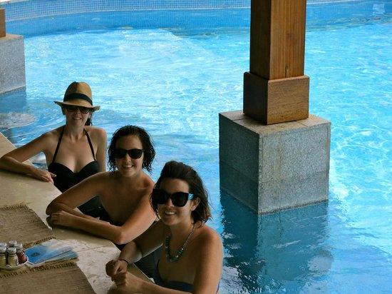 The St. Regis Bora Bora Resort : My sisters and I at the pool bar