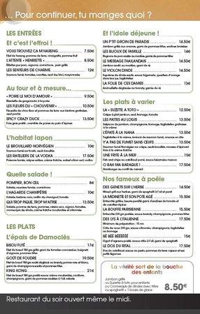 Le Pubstore : Carte des plats