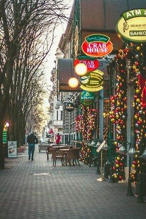 Rue Deribasovskaya : Рождественские украшательства.