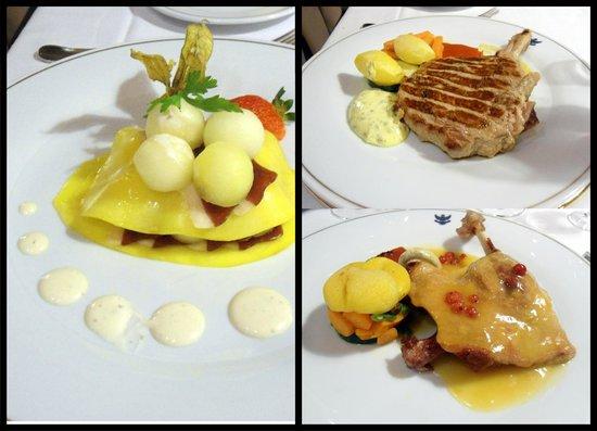 Hotel Alhambra Palace: Ensalada de melón, mango y jamón y platos principales (pato y solomillo)