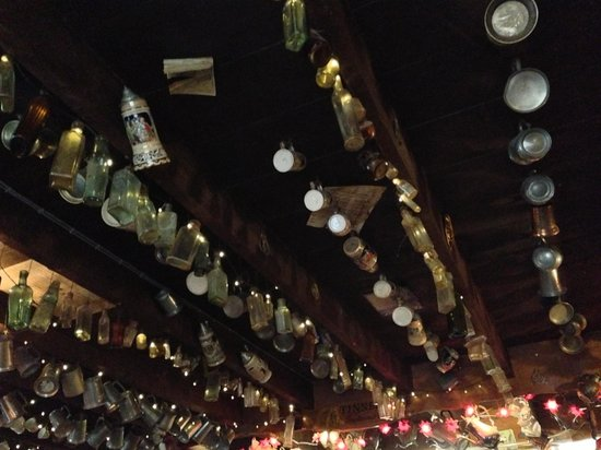 Masons Arms: The bottles on the ceiling