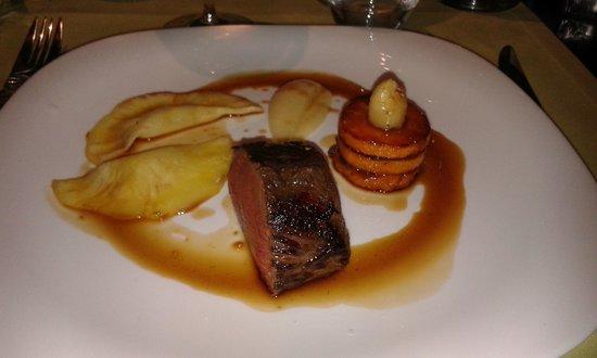 Restaurant Grain de Sel: Dos de biche doré,mousseline de panais et ananas Sauce aux baies de genièvre