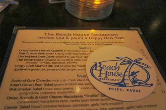 Beach House Restaurant: Menu and coaster