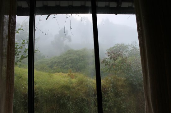 Camp Noel: view from bedroom window which opens in the valley