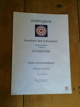 Rosebank B&B: Quality in Tourism certificate